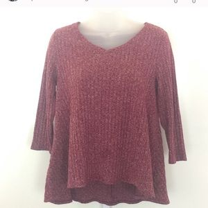 Petite Sonoma High-Low Maroon Sweater-Top | M